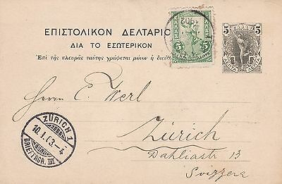 Greece 1902 Uprated 5L Postal Stationery Card Athens to Switzerland 10L Rate