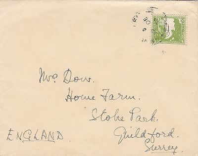 Palestine Israel 1936 Cover From Jerusalem to Guildford Surrey UK 3m Rate