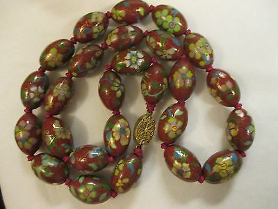 Vtg Chinese export Genuine Cloisonne Hand knotted Bead Necklace