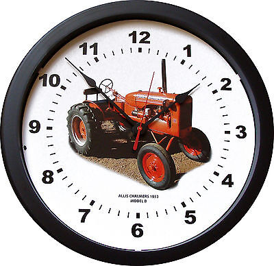 "New Vintage 1953 ALLIS CHALMERS Model B Tractor Wall Clock  MASSIVE 14"" 3/4 View"