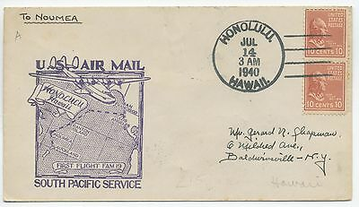 1940 First Flight Cover Hawaii To New Caledonia Pan Am Fam19