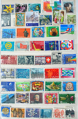 Fine Collection of Different Used Swiss Stamps, Recent & Old Switzerland Issues.