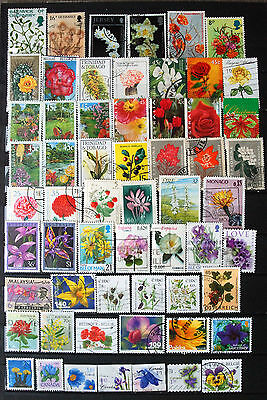 A Collection Of Stamps Showing Flowers, Flower Thematics.