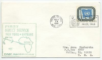1966 First Flight Cover United Nations New York To Uganda Pan Am