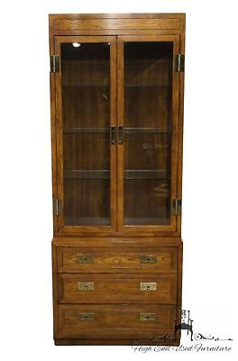 HENREDON Scene One Campaign Style Lighted China-Display Cabinet  9101-48 9102