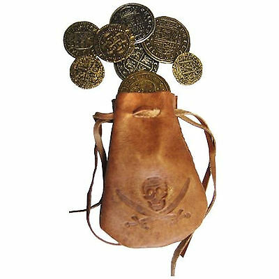 Treasure Bag Filled With 8 Spanish Armada Coins In Leather Pouch New And Boxed