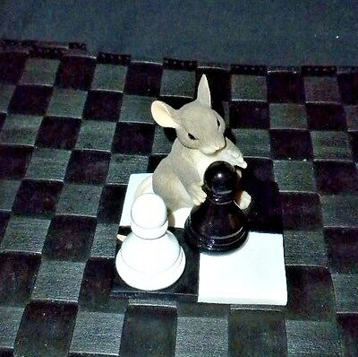 """Fitz & Floyd Charming Tails """"It's Your Move"""" Mouse Playing Chess 89/704"""