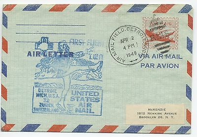 1949 First Flight Air Letter Usa To Switzerland Twa Fam27