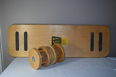 Vintage Merdel Wood Balance Board Skateboard, Surfing, Core Training Fitness
