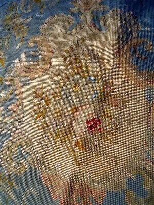 Aubusson  Tapestry Antique French 19Th-Century  Chateau Needlpoint Petitpoint