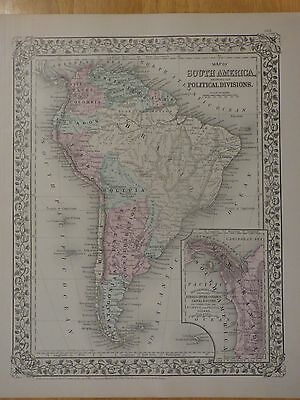1879 Mitchell color 2-sided map South America Peru Argentina Colombia Venezuela