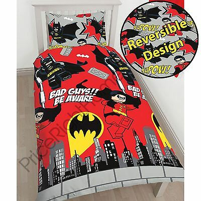 Lego Dc Superheroes Batman Kapow Single Duvet Cover Set Childrens Bedding New