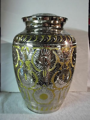 Adult Brass Urn~XXL Dbl Size Companion Silver & Gold Embossed~for up to 400 lb