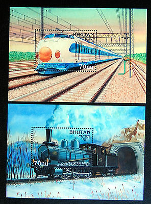 Trains, Railway Selection From Bhutan, Two Unmounted Mint Sheets.