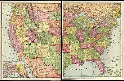 "Antique Nice 1903 Map of the United States 20.75"" X 13.5"" 2 Plates Geo F. Cram"