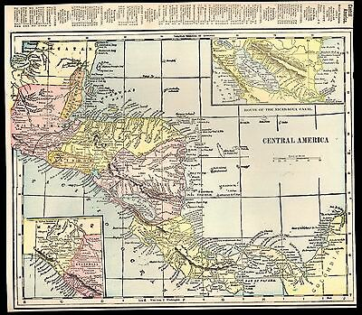 Antique 1903 Double-Sided Color Map of Mexico / Central America Geo F. Cram