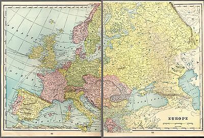 """Antique 1903 2 Plate Detailed Color Map of Europe 21.5"""" X 14.5"""" by Geo F. Cram"""