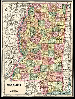 "Antique 1903 Color Map of Mississippi MS by Geo F. Cram - Size: 9.8"" X 13.25"""