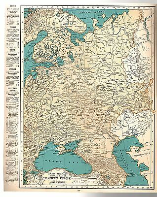 Rand McNally 1937 Vintage Frameable Color Map of Eastern Europe Soviet Union