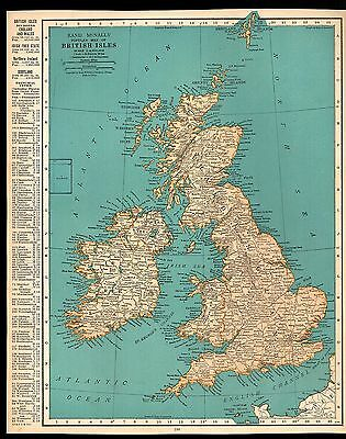 Rand McNally 1937 Vintage Frameable Color Popular Map of British Isles