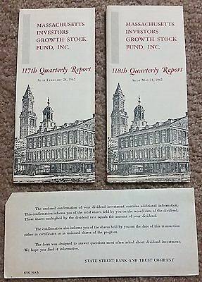 Massachusetts Investors Growth Stock Fund 1962 Quarterly Reports State St Bank