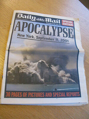 Daily Mail Newspaper : 9-11 Apocalypse : Sept 12 2001 Twin Towers