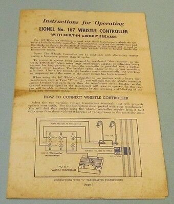 1953 Lionel Trains Instructions for Operating No. 167 Whistle Controller 4pg