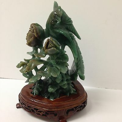 Rare Old Jade Bird w/ Red Jade Lotus Figural Sculpture on Wood Base Carved t fit