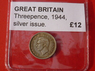 rare date 1944 silver threepence, in good condition