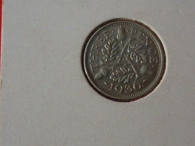 very nice condition 1936 silver threepence,