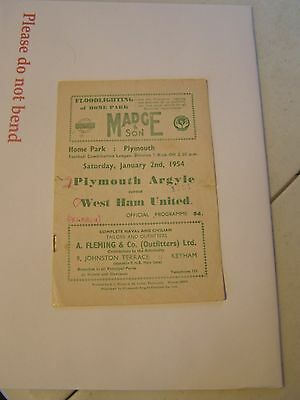 Plymouth Argyle res v West Ham United reserves  Combination 53/4  programme
