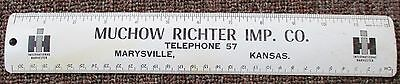 1950's INTERNATIONAL HARVESTER Dealer Metal RULER....Marysville, Kansas
