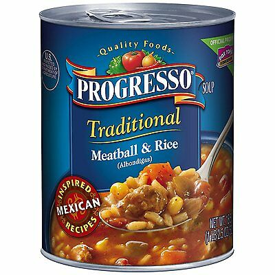 Progresso Traditional Soup, Albondigas Meatball and Rice, 18.5 oz, 12 Pack
