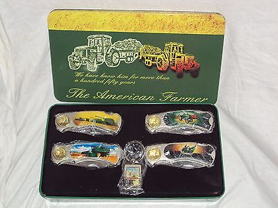 John Deere American Farmer Collector 4 Pocket Knife Set with Keychain & Tin