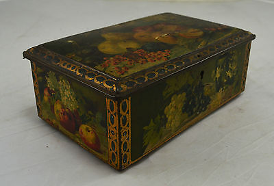 Suberb Rare Vintage Tin - Painted Fruits - With Lock. Cigar/Tobacco