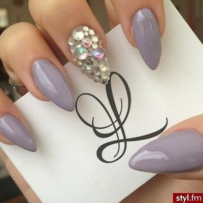 Nude and gems nail art stiletto nails, fake nails, coffin nails,stick on nails