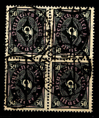Germany Stamps Weimar 1922-3 FU 4-Block 50Pf 'Coach Horn' (4v).