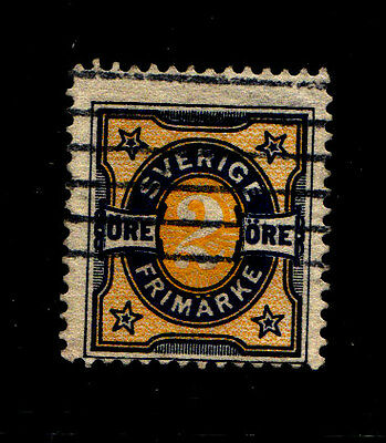 Sweden 1892 Numeral Stamps FU blue/yellow 2 Ore.