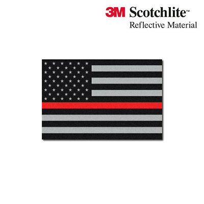 "3M Reflective Flag Decals - Subdued Thin Red Line American Flag - 1.5"" x 2.25"""
