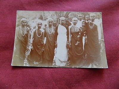 UNKNOWN PEOPLE: GROUP of men and women RP sepia Africa?