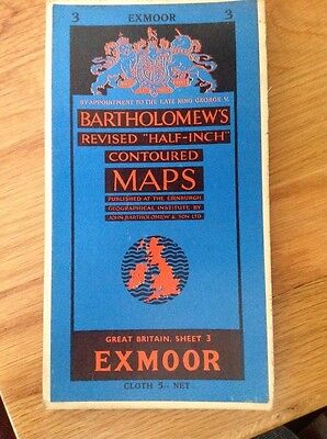 Bartholomew's Half-Inch Cloth Map Sheet 3 1962 - Excellent Condition