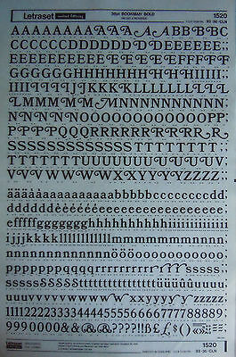 LETRASET Rub On Transfers BOOKMAN BOLD 36pt (#1520) NEW