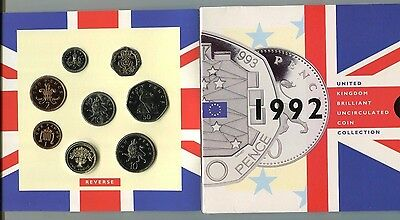1992 United Kingdom Brilliant Uncirculated Coin Collection 9 coins OGP #2