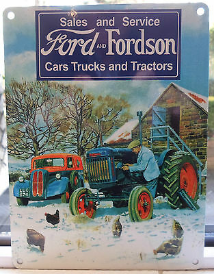 Ford And Fordson Tractor And Van Winter Metal Wall Sign