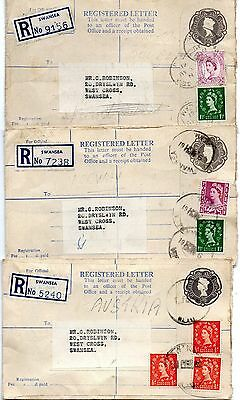 GB 3 early QE11 used registered envelopes with additional adhesives  (see scans)