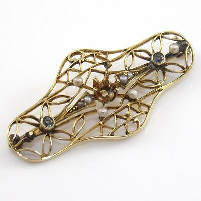 Vintage Antique 14K Yellow Gold Pearl Sapphire Filigree Pin Brooch QR1