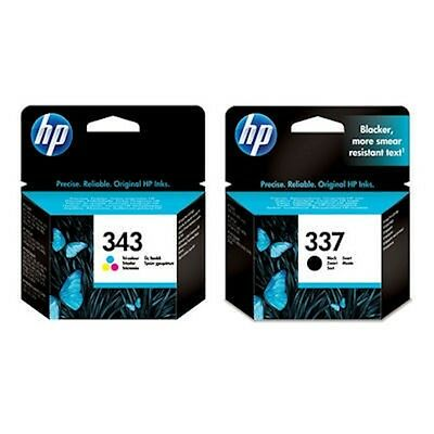 HP 337 Black & HP 343 Colour Genuine Original Ink Cartridges 1 X SET