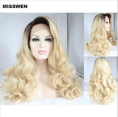 "18"" Long wavy  2 Tone Black And Blonde Lace Front Wig Heat Resistant"