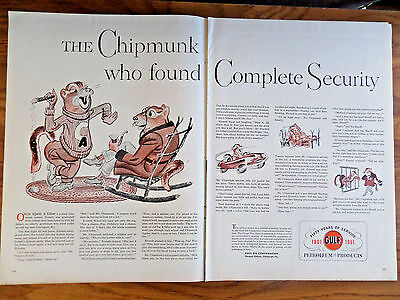 1951 Gulf Oil Gas Ad 50 Years of Service Chipmunk found Complete Security