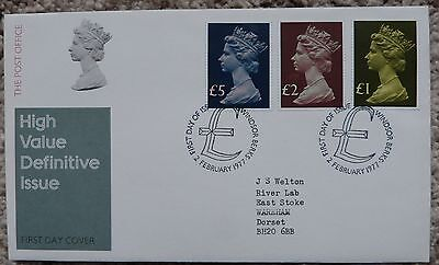 GB 1977 High Value large Machin definitives £5 £2 £1 on FDC Windsor CDS